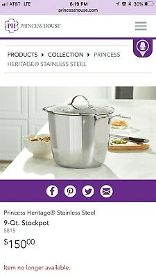 Princess House 9 Qt Stock Pot 5815 Classic Stainless Steel