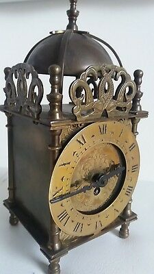 Vintage Smiths of England original Domed, small Brass Lantern / Carriage clock.