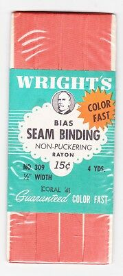 Wright's Coral 41 No. 309 Seam Binding Rayon New In Package Pre 1964