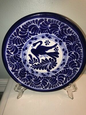 Mexico Talavera Hand Painted Blue And White Wall Plate  8.5""