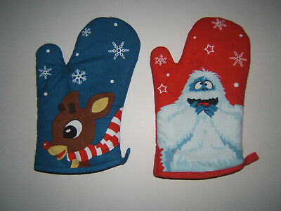 NEW Rudolph the Red Nose Reindeer & Bumble Snow Monster Christmas Oven Mitt Set