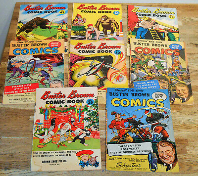 8x BUSTER BROWN COMIC BOOK lot 1947-1956 rare Golden-age Reed Crandall Christmas