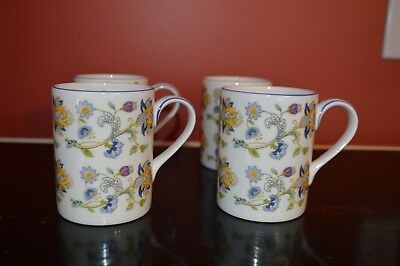 Minton Haddon Hall Blue Mug Fine Bone China ENGLAND JOHN WADSWORTH Set of 4