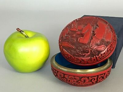 A Chinese cinnabar lacquer round box with landscape 19th/20thc
