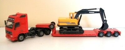 Joal Compact Volvo F12 Truck Low Loader And Akerman Excavator Collectable Item