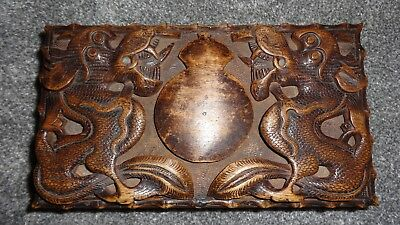 Lovely Vintage Oriental Chinese/japanese Wooden Hand Carved Dragon Trinket Box!