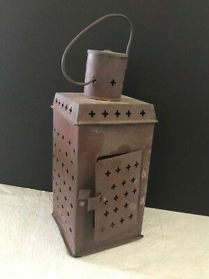 Antique Vintage 18th or early 19th Century Primitive Punched Tin Candle Lantern