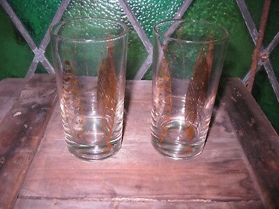 1950s Fred Press gold fish pattern glasses (2)