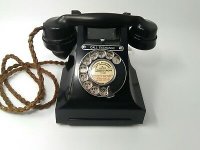 "Vintage Bakelite GPO Black Rotary Telephone with ""Call Exchange"" button"