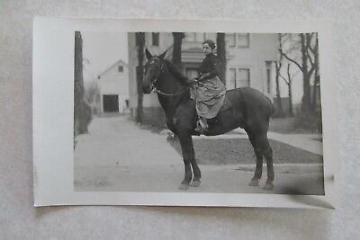 b263 Postcard RPPC Woman on a horse