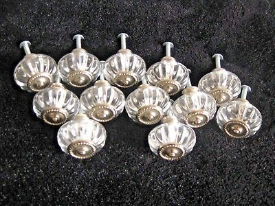 """LOT OF 12 """"ANTIQUE STYLE"""" GLASS CABINET DRESSER KNOBS w/NICKEL CENTER"""