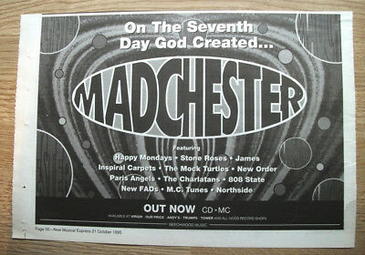 On the 7th Day God Created MADCHESTER - 1995  ORIGINAL MUSIC ADVERT 11 X 8 in