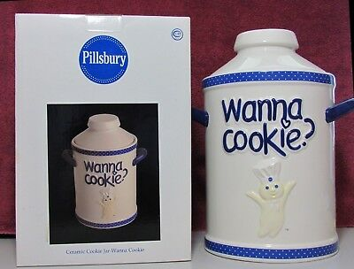 "2005 Pillsbury Doughboy Cookie Jar ""wanna Cookie""   Free Shipping"