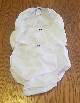 3 Vintage Gerber White Vinyl Plastic Pants Reusable Diaper Covers 2T-3T 28-35 lb