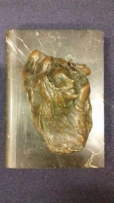 Old paperweight / bronze woman's head on marble!