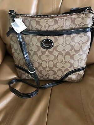 Coach Peyton Signature Crossbody F18926 Khaki/Brown/Mahogany/ Black