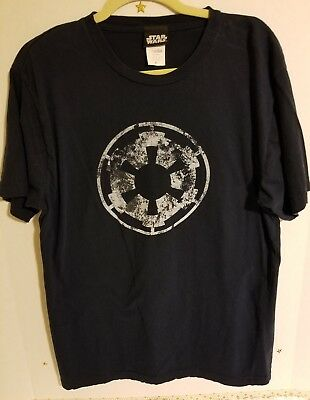 Star Wars Imperial White Cog Logo Aging Empire Distressed Blue T-Shirt Sz XL
