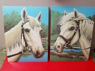 """Pair Of Vintage 12"""" X 9"""" Paint By Number White Horse Pictures Completed Painted"""