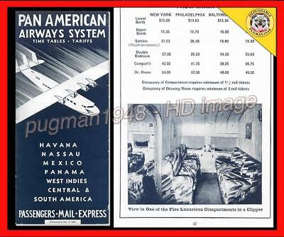 PAN AMERICAN AIRWAYS SYSTEM 1933 AIRLINE TIMETABLE SCHEDULE...Flying Boats