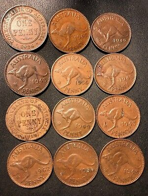 Old Australia Coin Lot - 1919-1962 - 12 LARGE PENNIES - Great Group - Lot #819