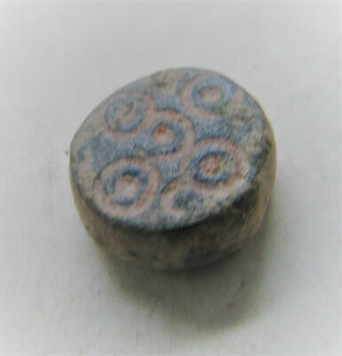 Early Byzantine Bronze Jewelers Weight With Ring And Dot Motifs 8.2G