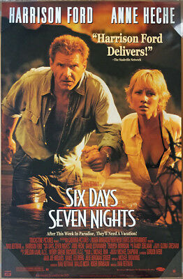 SIX DAYS SEVEN NIGHTS DVD MOVIE POSTER 1 Sided ORIGINAL 26x40 HARRISON FORD