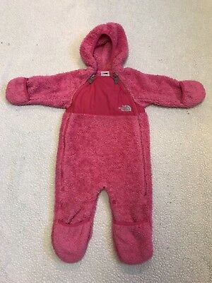 The Northface pink bunting buttery fleece snowsuit size 6-12 months
