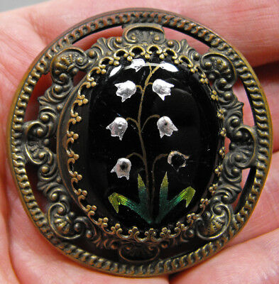 """Stunning antique glass enameled button large Lily of the Valley beautiful 1 3/4"""""""