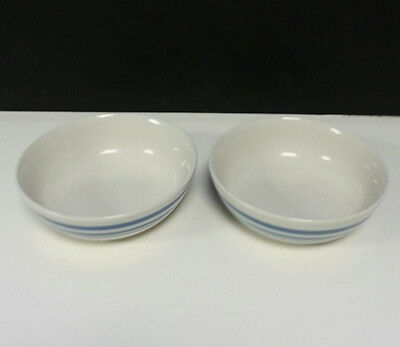 "Gibson 5-7/8"" Everyday China Soup Cereal Bowls with Blue Stripe Ring Band Set 2"
