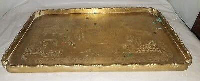Antique Chinese Brass Engraved Tray Scaloped Edge Tray