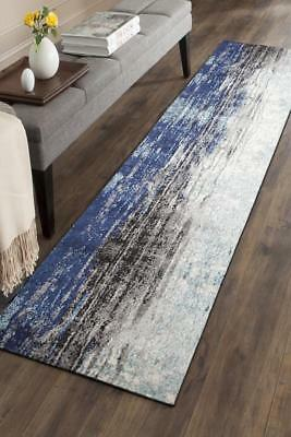 Hallway Runner Hall Runner Rug Modern Blue Grey 5 Metres Long Premium Edith 259
