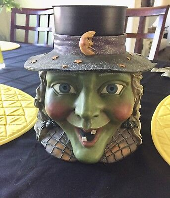 "Halloween Green Grinning Witch Head Yankee Jar Candle Holder (large) 8.5""x7"""