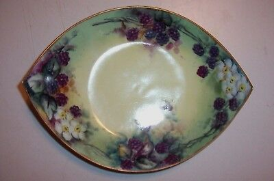 Antique Bavarian Porcelain Bowl-Hand-Painted Blackberries-Favorite Bavaria& J Mk