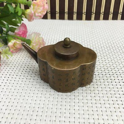 Unique Chinese Ancient brass Traditional Teapot Shaped Water drop c01
