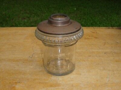 Antique Glass and Brass Oil Lamp Tank