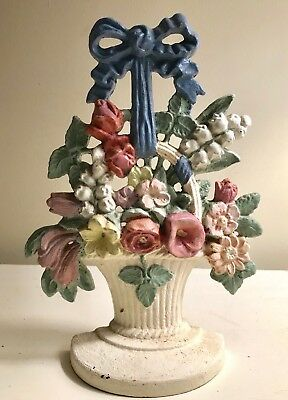 Vintage Cast Iron Mixed Flowers In a Basket w/Bow Doorstop