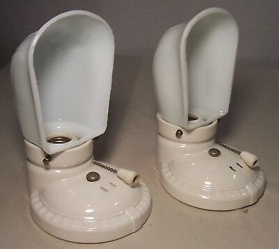 Vtg Art Deco Porcelain Sconce Wall Light Fixture Shade Pair 2 Rewired USA #I47