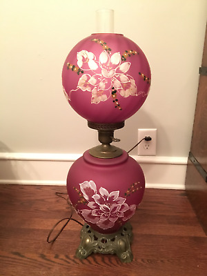 GWTW Vintage Old Purple Floral Table Lamp