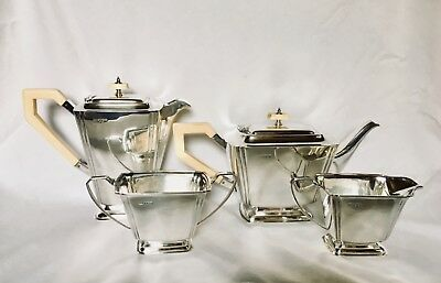 ART DECO PERIOD ENGLISH STERLING SILVER 4 PC TEA & COFFEE SET, c.1936