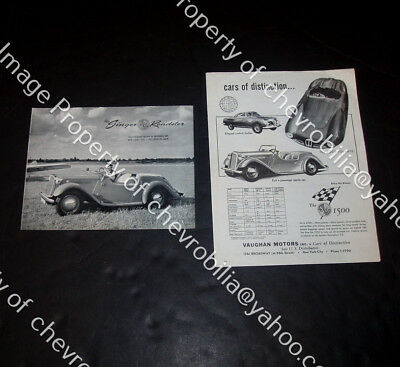 (2) 1952 1953 Singer SM 1500 Roadster British Sports Car US Brochures Catalogs