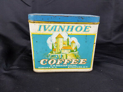 Antique IVANHOE COFFEE SYRACUSE AUBURN NY Tin Coffee ADVERTISING  C.G. MEAKER CO