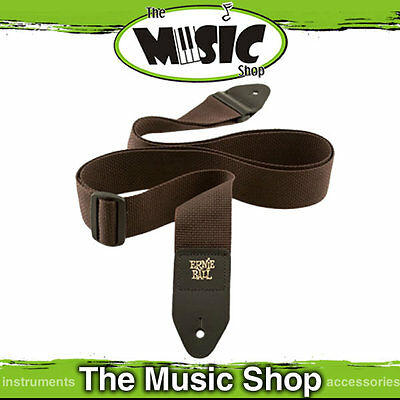 """Ernie Ball Polypro Brown Guitar Strap - 2"""" Wide - Length Adjustable - New"""