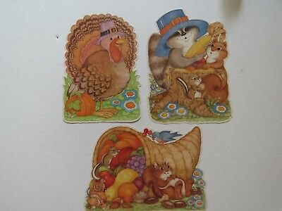 3 Vintage Autumn Fall Die Cut Wall Decorations Lot Laminated Pam Peltier #8069