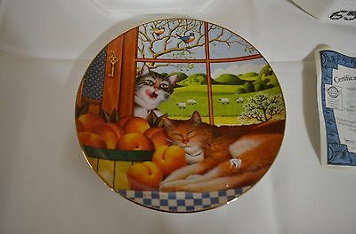 """2001 Bradford Exchange Purr-Fect Pairs Cat Plate """"just Peachy"""""""