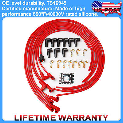 Universal 8mm Set Spark Plug Wire Silicone Red ignition Wires V8 Spiral core New