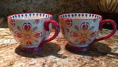 Dutch Wax Ceramic Hand Painted Multicolor Mug Cup - 2 Available - Free Ship!