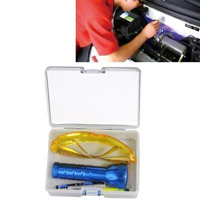A/C System Leak Test Detector Kit 28 Flashlight Protective Glasses UV Dye Tool