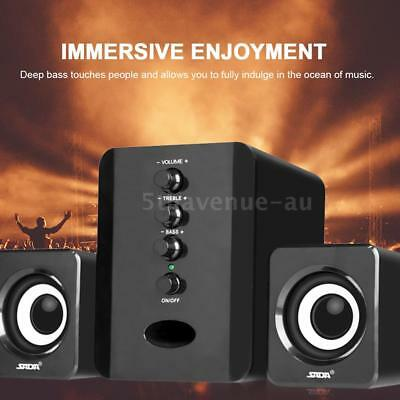 USB Power Computer Speakers System PC Laptop Desktop Notebook Subwoofer AUX Y3N6