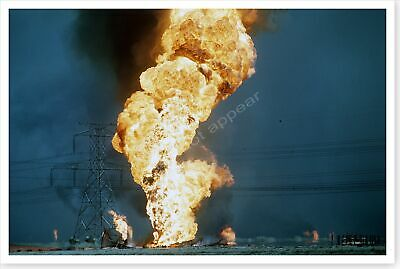 Out Of Control Oil Well Fires Set By Retreating Iraqis Desert Storm 8x12 Photo