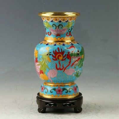 Exquisite Chinese Cloisonne Hand-painted Dragon & Phoenix Vase MY0479